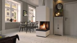 Schmid & Camina Gaskamin Speichersteinanlage mit Designbeton oder FEuertisch kann auch gestrichen werden. Kleiner Gaskamin aus Deutschland sehr guter Preis